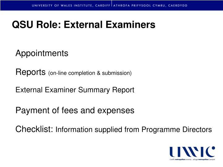 QSU Role: External Examiners