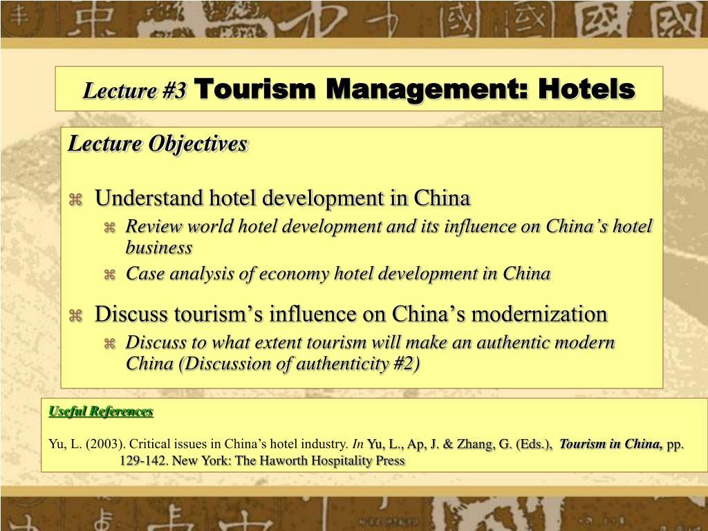 lecture 3 tourism management hotels l.