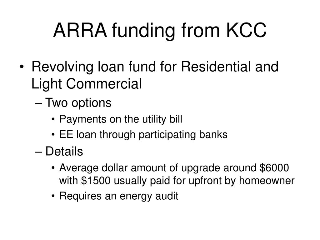 ARRA funding from KCC