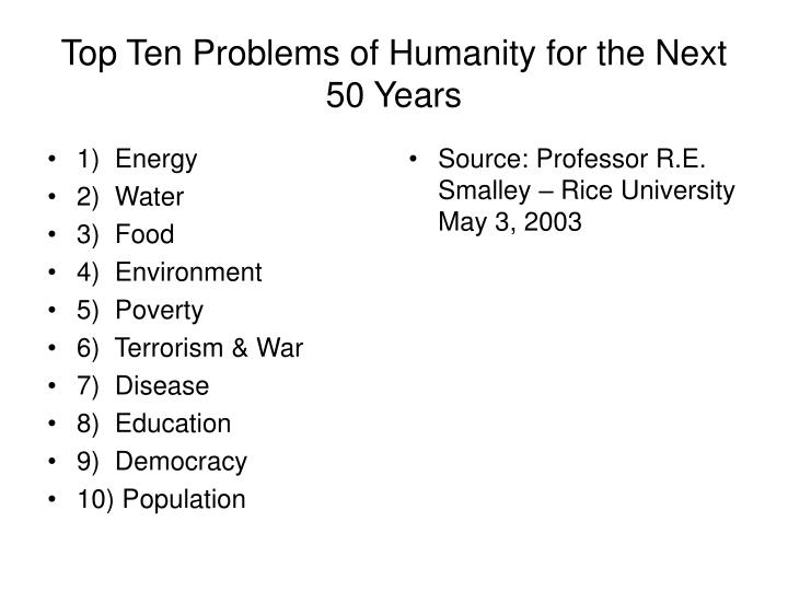Top ten problems of humanity for the next 50 years