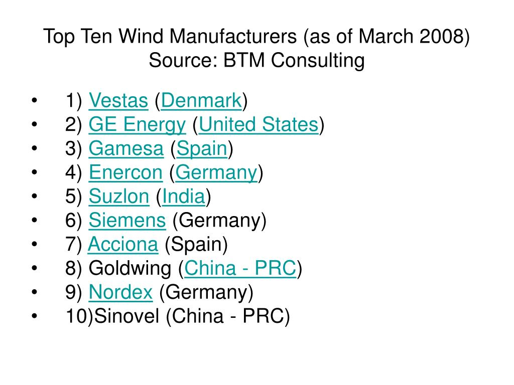Top Ten Wind Manufacturers (as of March 2008) Source: BTM Consulting