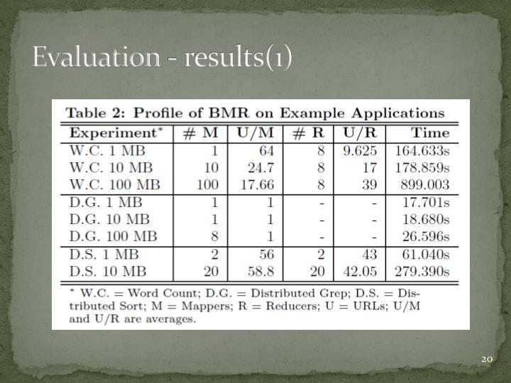Evaluation - results(1)