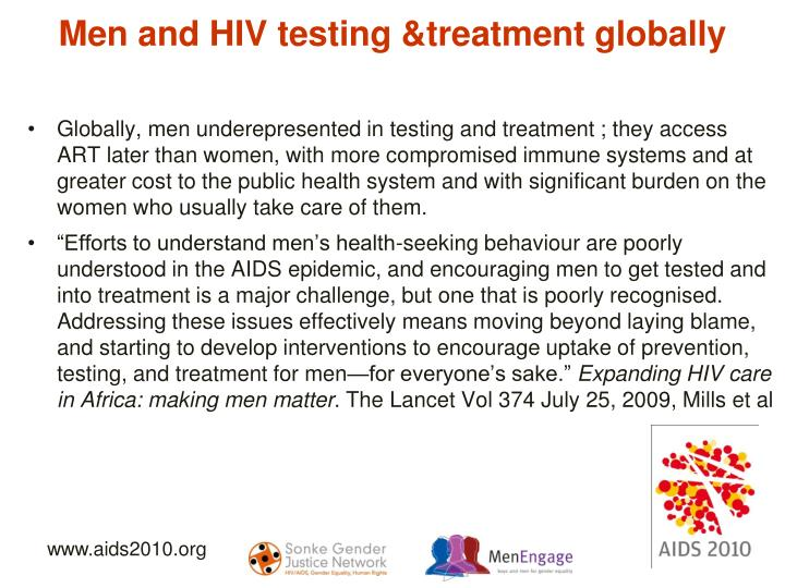 Men and HIV testing &treatment globally