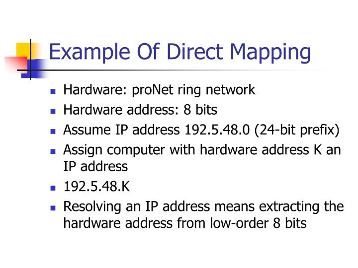 Example Of Direct Mapping