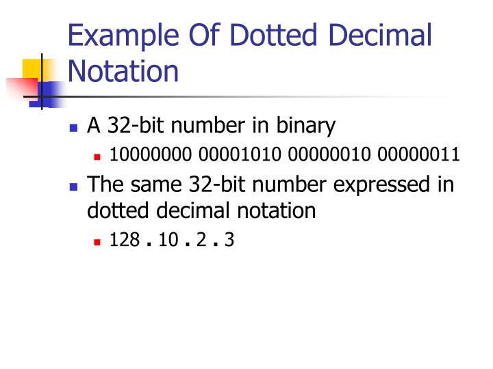 Example Of Dotted Decimal