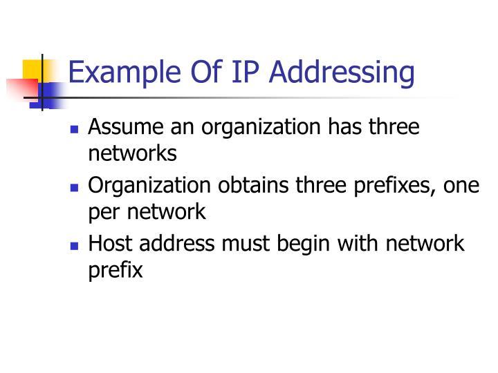 Example Of IP Addressing