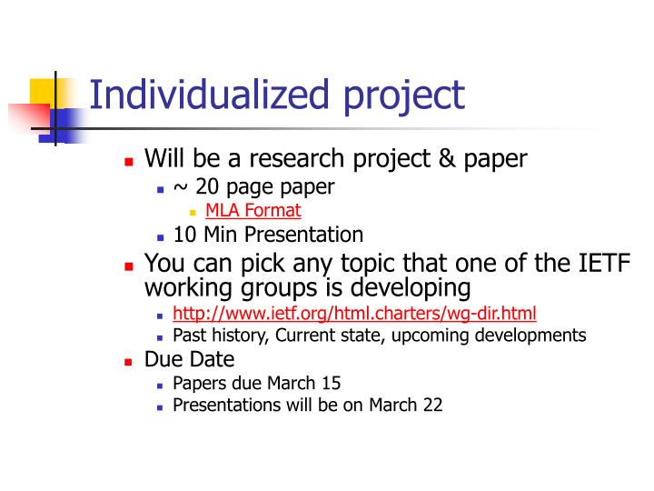 Individualized project
