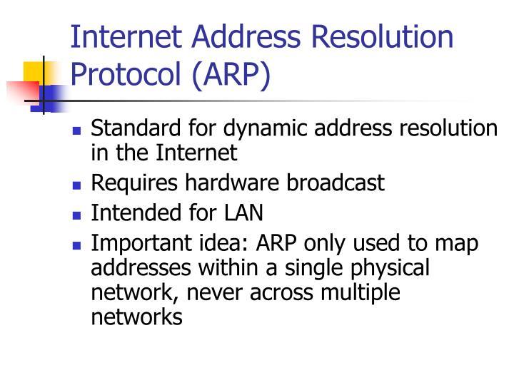 Internet Address Resolution Protocol (ARP)