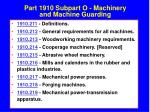 part 1910 subpart o machinery and machine guarding