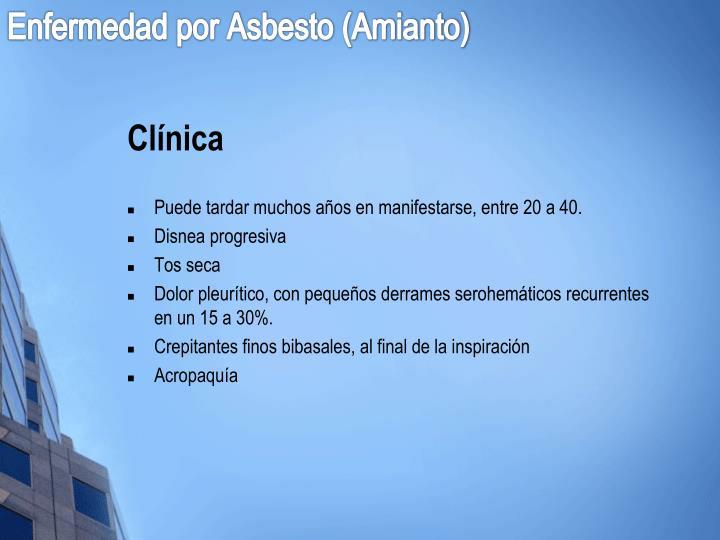 Enfermedad por Asbesto (Amianto)