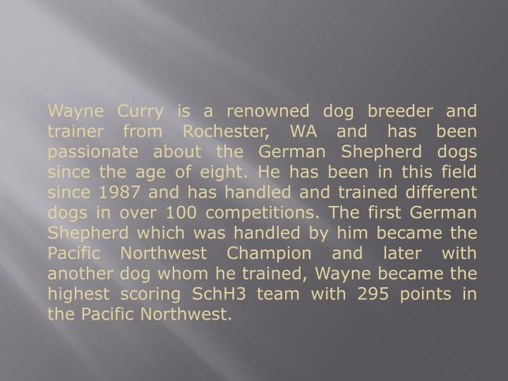 Wayne Curry is a renowned dog breeder and trainer from Rochester, WA and has been passionate about t...