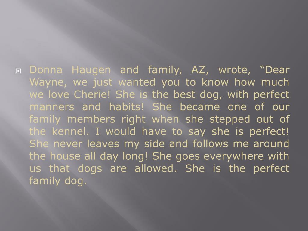 """Donna Haugen and family, AZ, wrote, """"Dear Wayne, we just wanted you to know how much we love Cherie! She is the best dog, with perfect manners and habits! She became one of our family members right when she stepped out of the kennel. I would have to say she is perfect! She never leaves my side and follows me around the house all day long! She goes everywhere with us that dogs are allowed. She is the perfect family dog."""