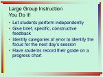 large group instruction you do it