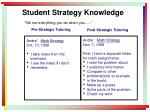 student strategy knowledge tell me everything you do when you