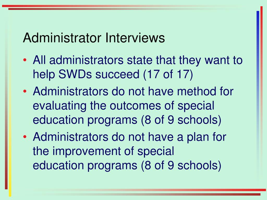 Administrator Interviews