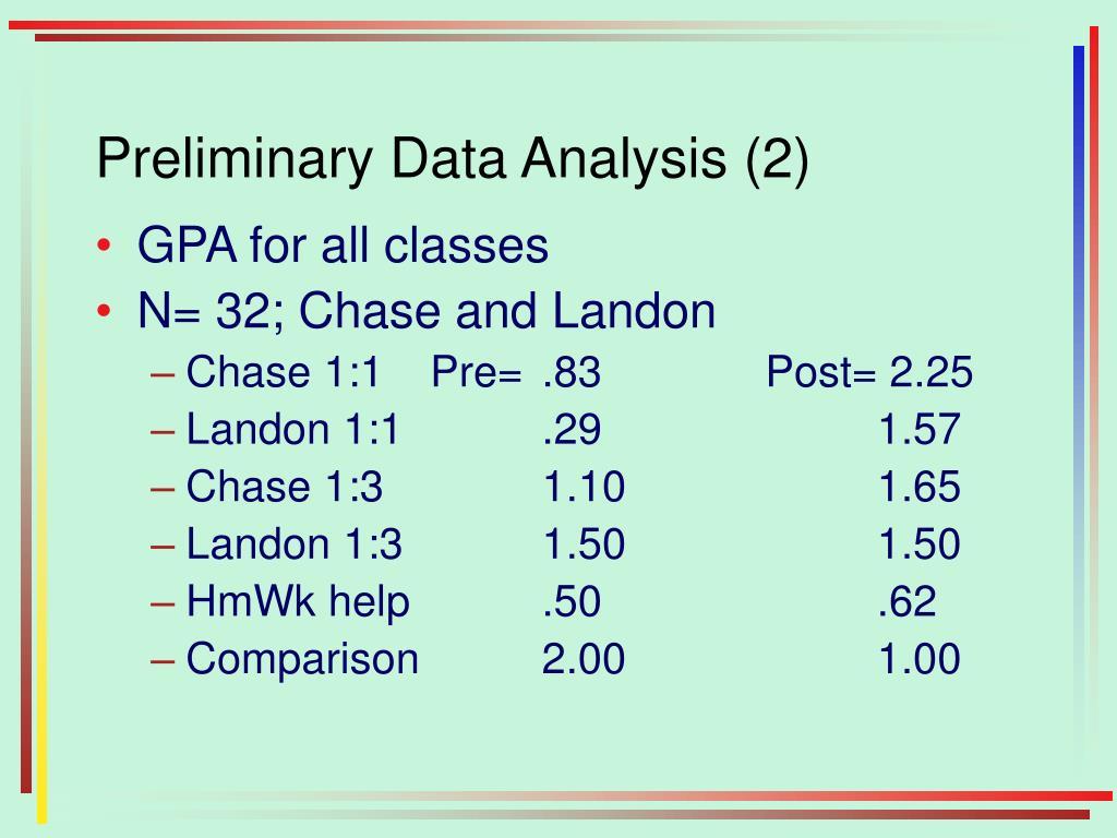 Preliminary Data Analysis (2)
