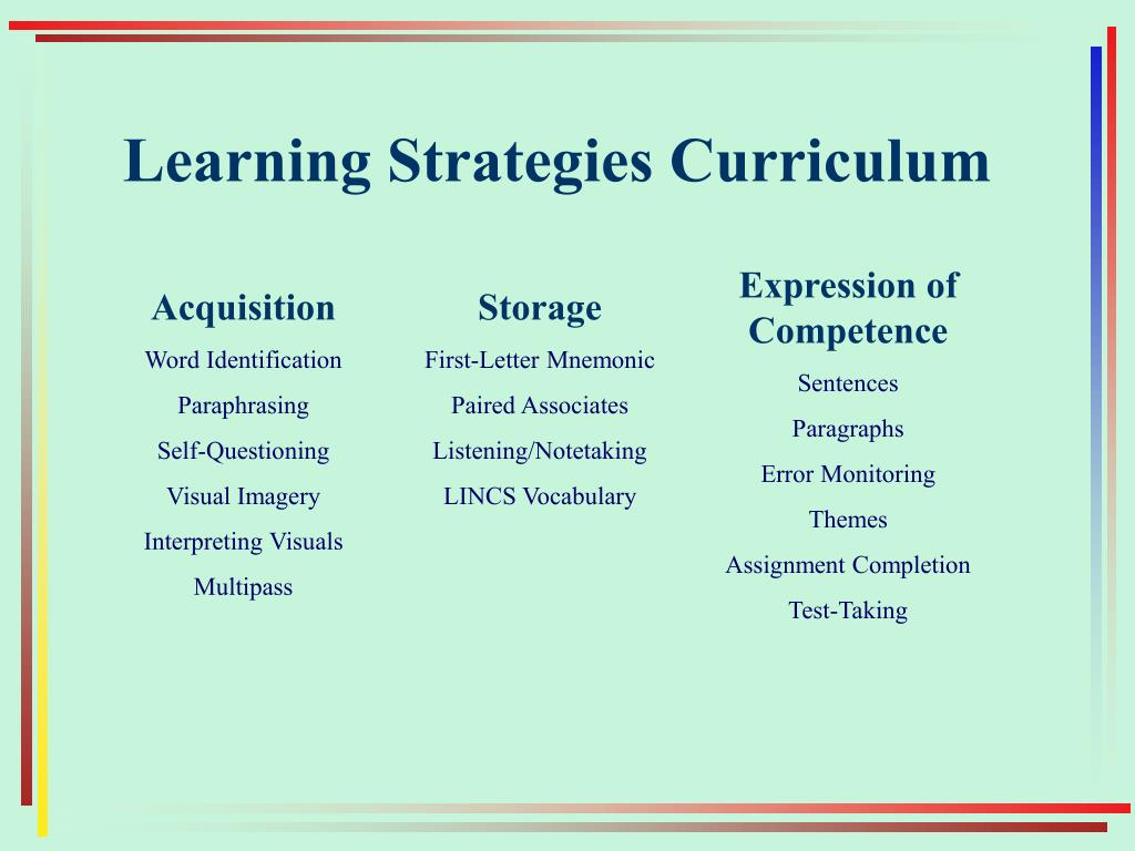 Learning Strategies Curriculum