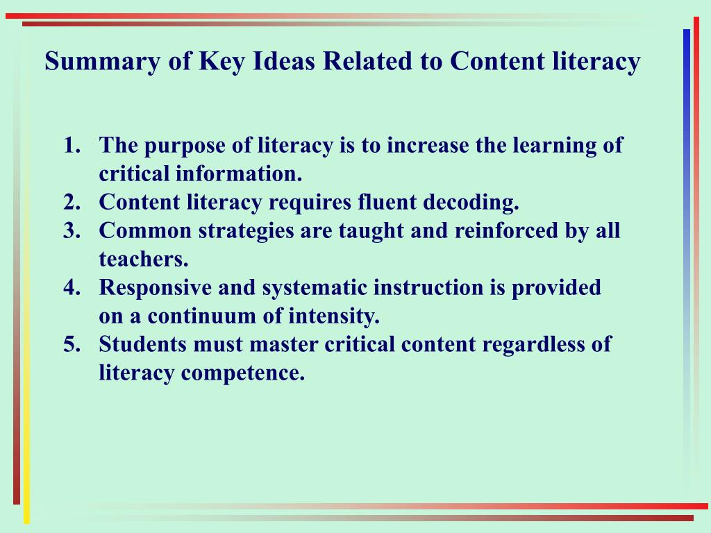 Summary of Key Ideas Related to Content literacy