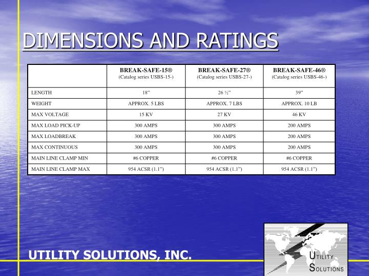 Dimensions and ratings