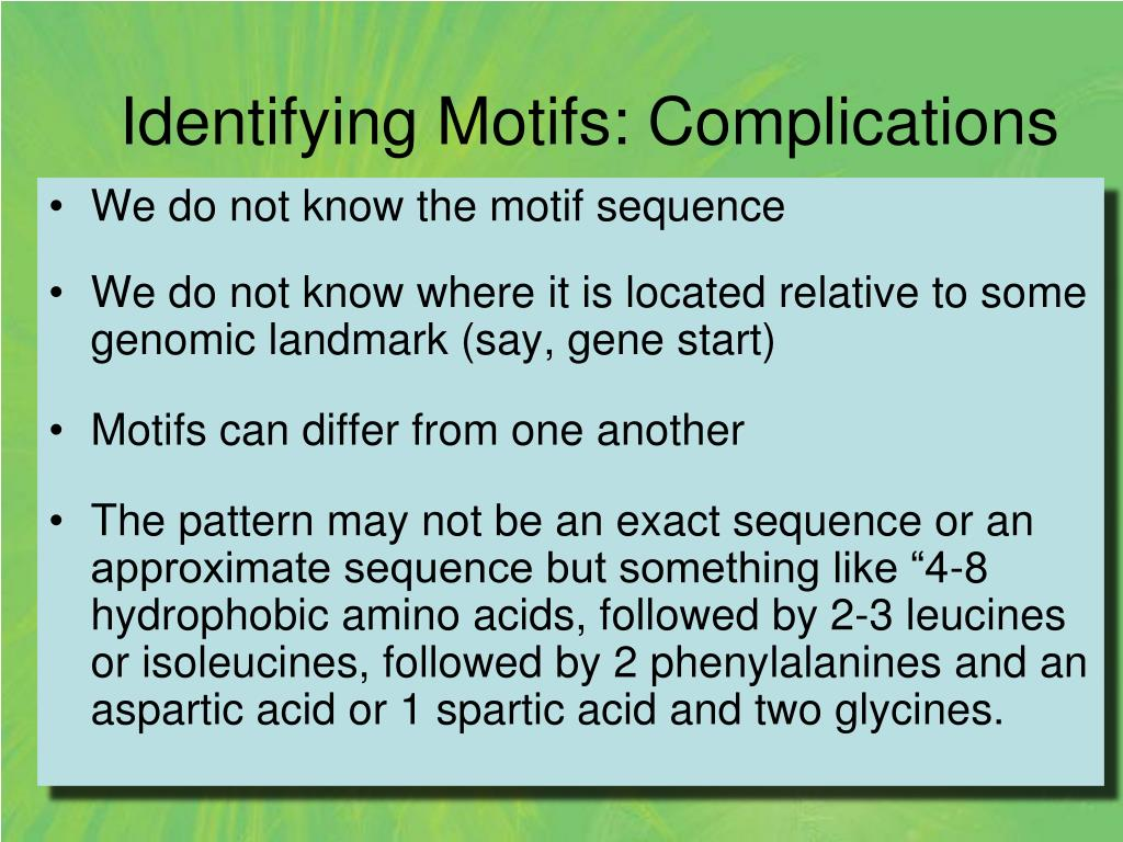 Identifying Motifs: Complications