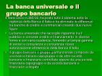 la banca universale e il gruppo bancario