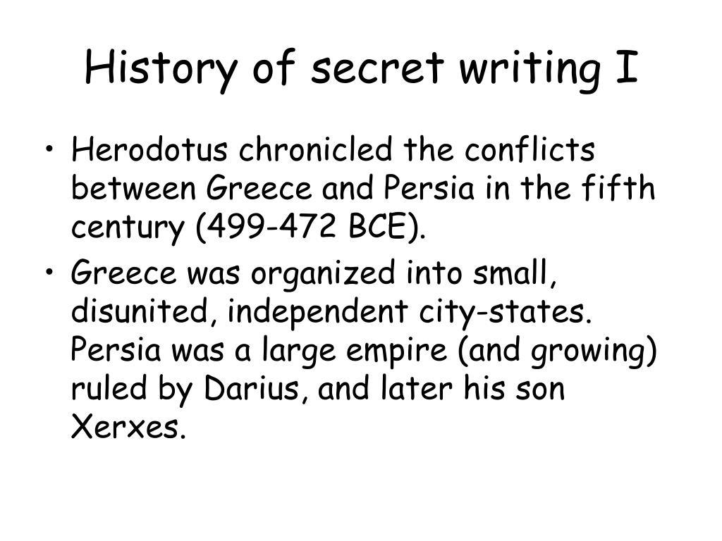 History of secret writing I