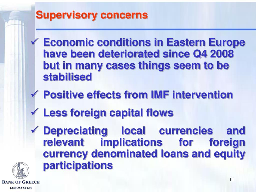 Supervisory concerns