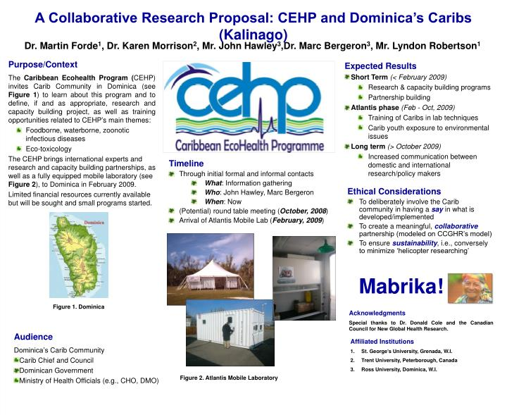 A Collaborative Research Proposal: CEHP and Dominica's Caribs (Kalinago)