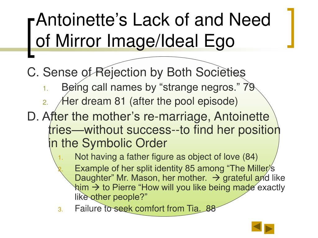 Antoinette's Lack of and Need of Mirror Image/Ideal Ego
