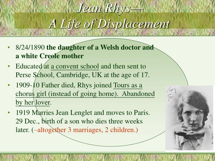Jean rhys a life of displacement