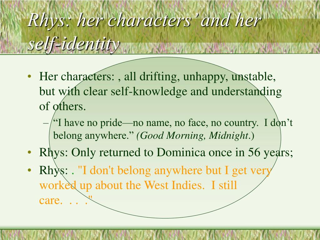 Rhys: her characters' and her self-identity