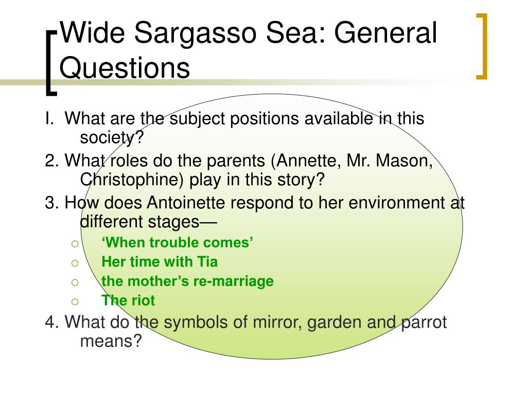 Wide Sargasso Sea: General Questions