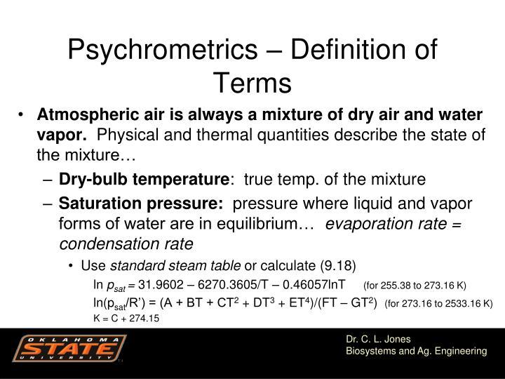 Psychrometrics – Definition of Terms