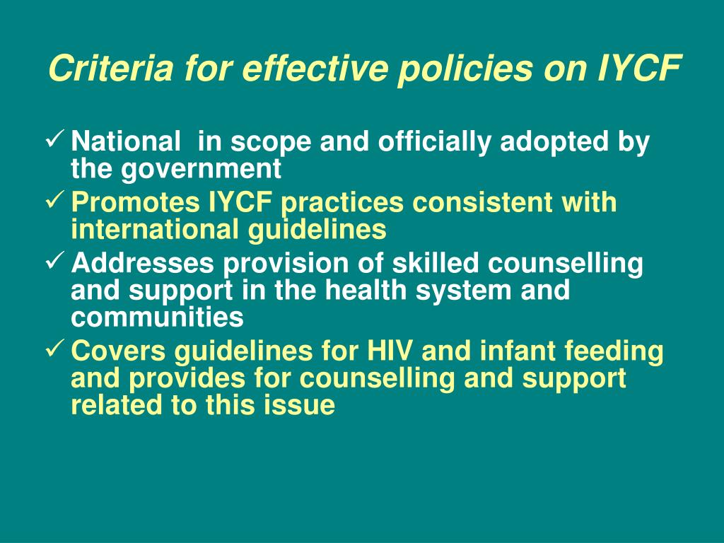 Criteria for effective policies on IYCF