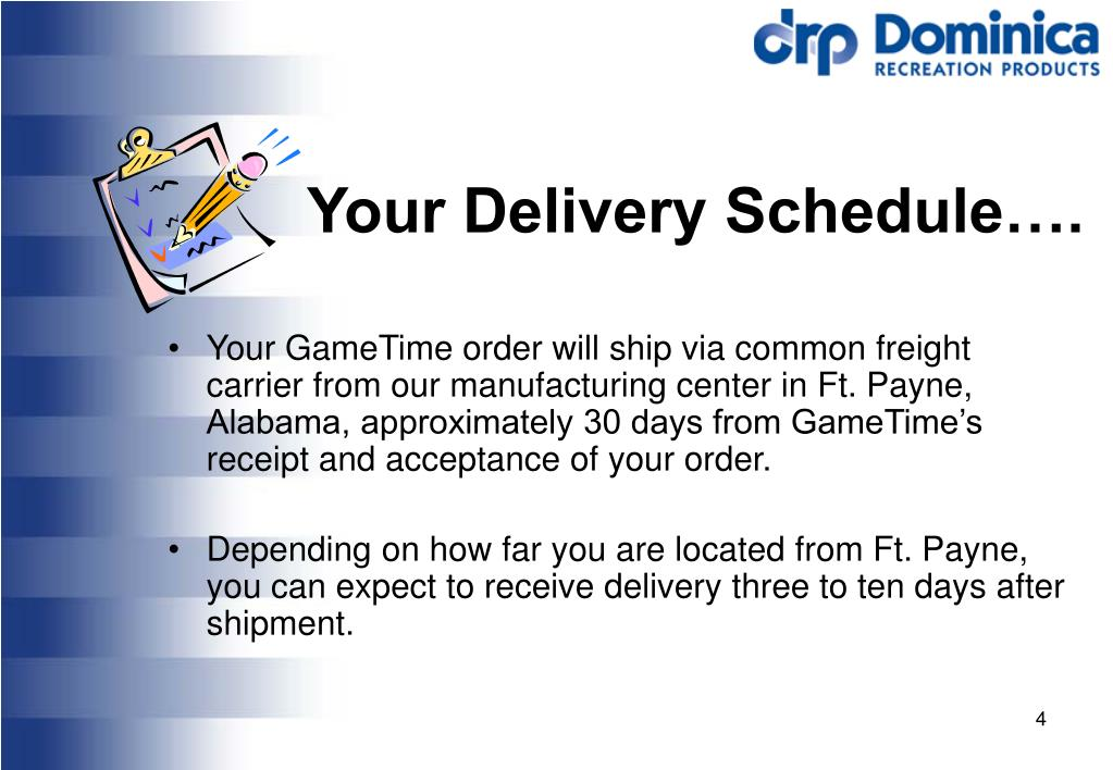 Your Delivery Schedule….