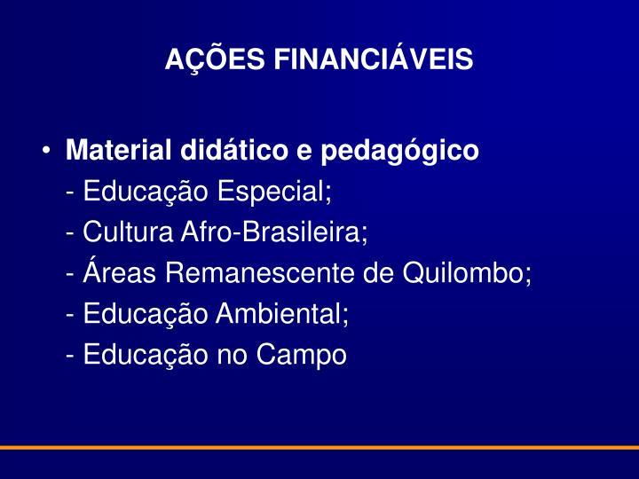 AÇÕES FINANCIÁVEIS