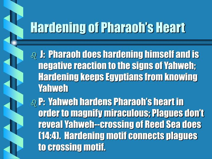 the hardening of pharaohs heart The switch from pharaoh's heart hardening to god hardening pharaoh's heart in the plagues of hail, locusts, and darkness, the ending phrase has switched from .