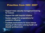 priorities from hdc 2007