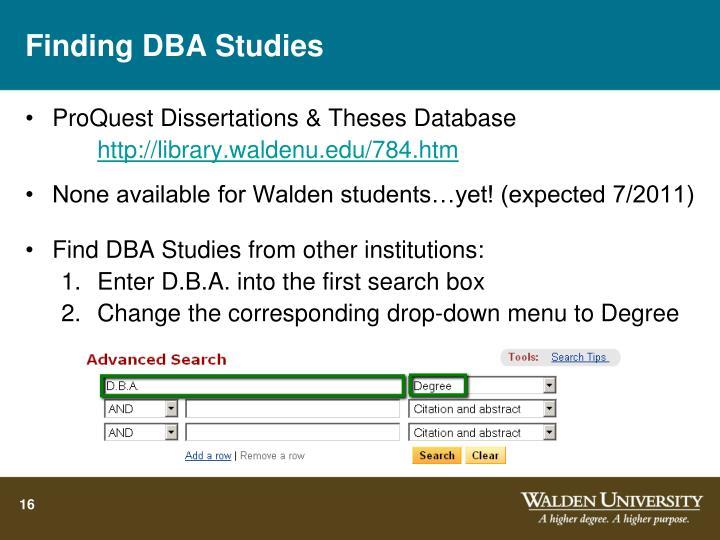 Finding DBA Studies
