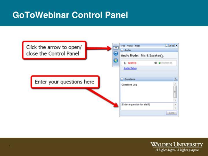 GoToWebinar Control Panel
