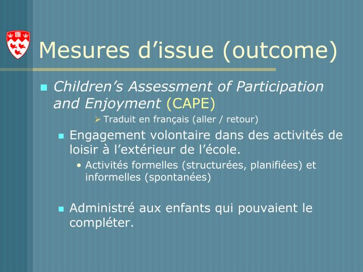 Mesures d'issue (outcome)