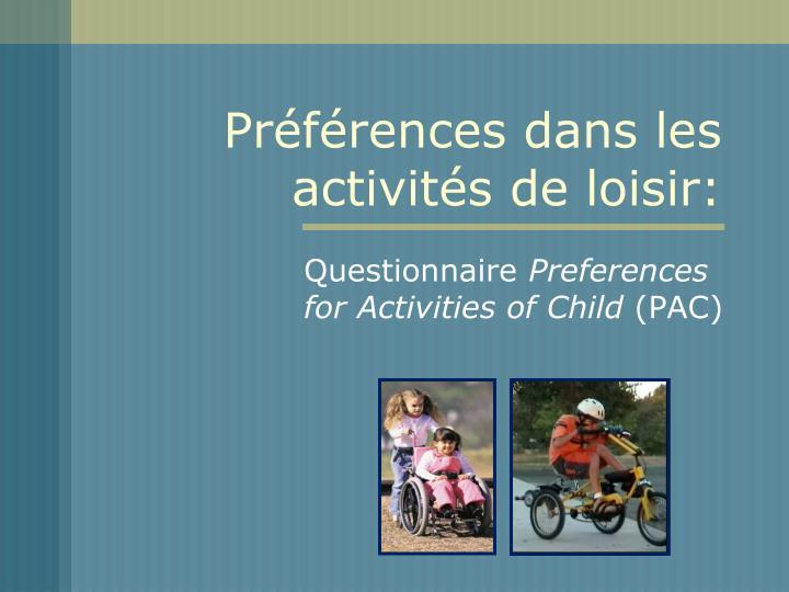 Préférences dans les activités de loisir: