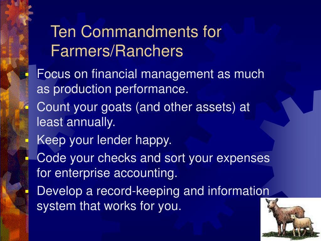 Ten Commandments for Farmers/Ranchers