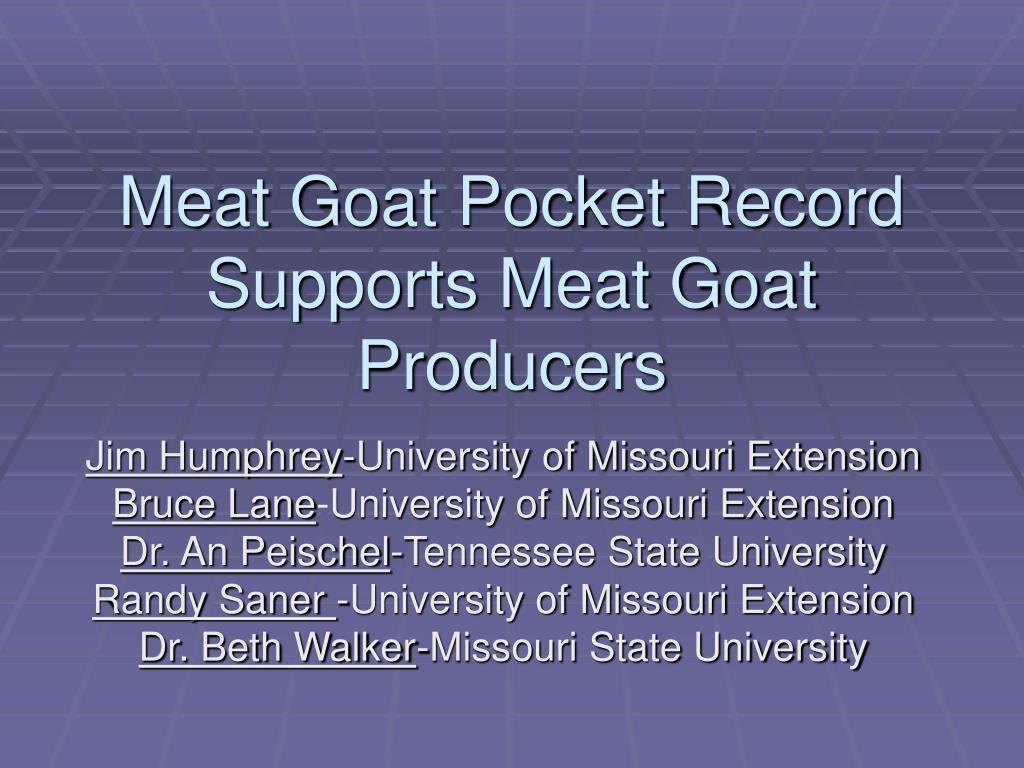meat goat pocket record supports meat goat producers l.