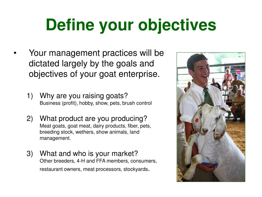 Your management practices will be dictated largely by the goals and objectives of your goat enterprise.