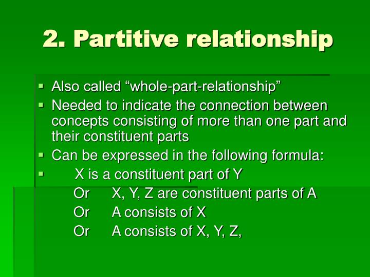 2. Partitive relationship