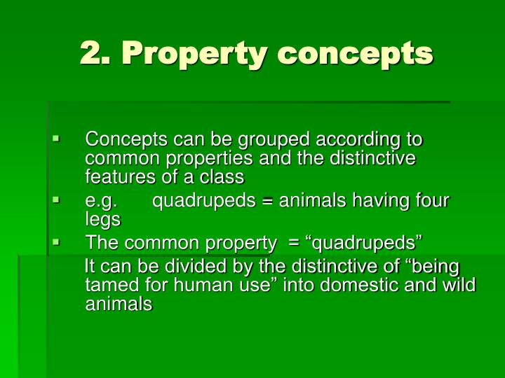 2. Property concepts
