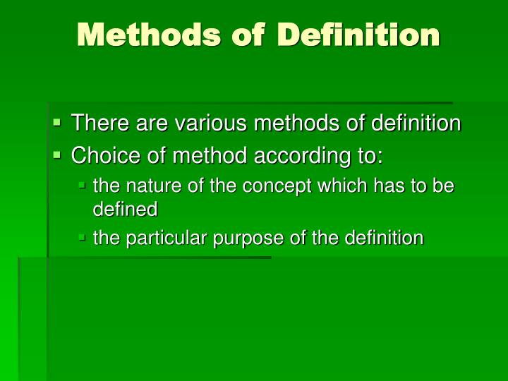 Methods of Definition