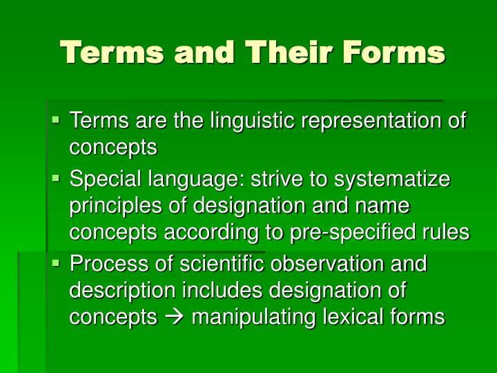 Terms and Their Forms