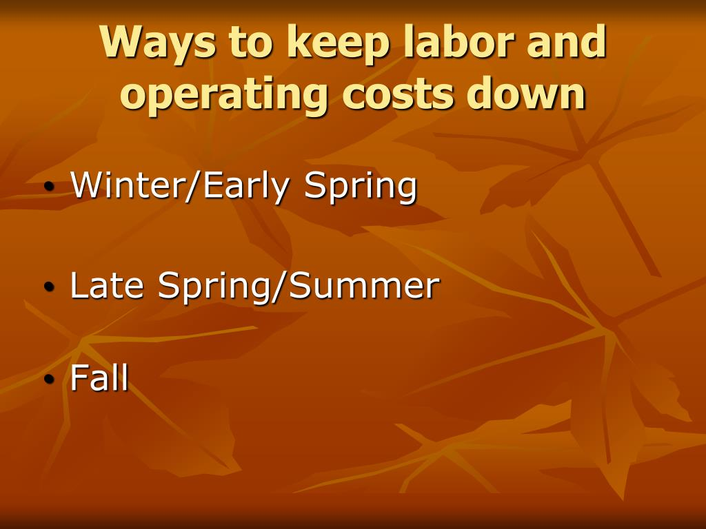 Ways to keep labor and operating costs down